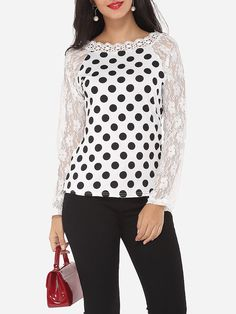 Lace Patchwork Captivating Round Neck Blouses
