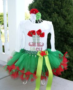 Elf tutu– Elf Dress– Babies First Christmas– Holiday tutu– Christmas tutu– Santa tutu– Santa's Helper tutu Source: Christmas Elf Costume, Christmas Tutu, Christmas Party Themes, Ugly Christmas Sweater, Christmas Holiday, Christmas Crafts, Christmas Skits, Tulle Crafts, Elf Clothes