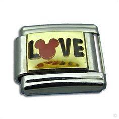 italian Charms for bracelet - LOVE on gold mickey, Classic italy bracelet modul