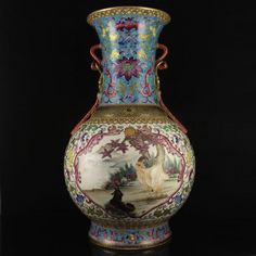 Superb Chinese Gold-plated Enamel Double Ear Porcelain Big Vase w Sheep,Horses & Qianlong Mark
