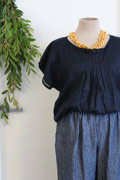 Linen Blouse, Ruffle Blouse, Navy Colour, Color, Orange Jumpers, Slow Fashion, Linen Fabric, Lace Detail, Blouse Designs