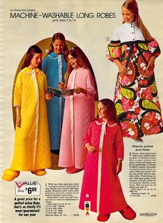 1972 machine washable robes from Sears. Classy. Whatever you remember, capture it for posterity with the story of your life at http://www.saveeverystep.com