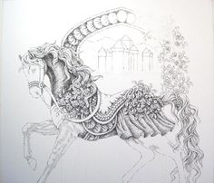 "Carousel Horse Drawings | So, here is some progress on ""Summer"":"