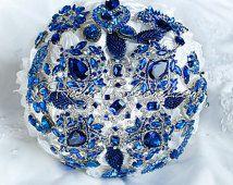 "Royal Blue Wedding Brooch Bouquet. Deposit ""Royal Blue"" Cobalt, Navy Blue, White, Crystal Royal Bridal Broach Bouquet, Ruby Blooms Wedding"