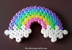 Legendary Rainbow pendant with iron beads: Pendant from the store of . Easy Perler Bead Patterns, Diy Perler Beads, Perler Bead Art, Hamma Beads Ideas, Pearl Beads Pattern, Art Perle, Motifs Perler, Hama Beads Design, Peler Beads