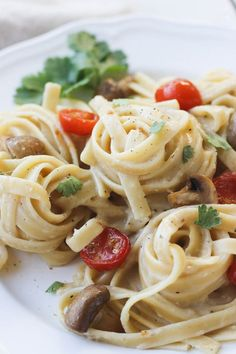 Creamy Garlic Pasta with Roasted Vegetables