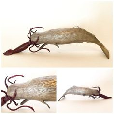 #Bronze #sculpture by #sculptor Kirk McGuire titled: 'Sperm Whale and Giant Squid (small Battle sculpture)'. #KirkMcGuire