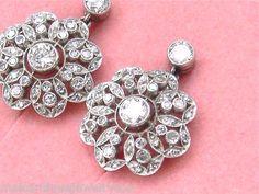 Antique Style 1 52c Diamond Platinum Flower Blossom Cluster Stud Dangle Earrings www.MelsAntiqueJewelry.com
