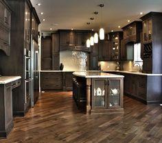 Dark Kitchen Cabinets/Herringbone floor - My-House-My-Home Traditional Kitchen Cabinets, Dark Kitchen Cabinets, Maple Cabinets, Dark Cabinets And Dark Floors, Dark Kitchen Floors, White Counters, Dark Wood Floors, Traditional Kitchens, Cuisines Design