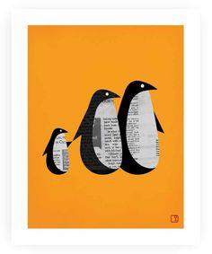 newspaper black card #uTAKE this cute #penguin family #uMAKE