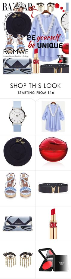 """""""Romwe Contes: Vertical Striped Dress"""" by anin-kutak ❤ liked on Polyvore featuring Maison Scotch, DKNY, Tabitha Simmons, Dsquared2, Karl Lagerfeld, Yves Saint Laurent, Sydney Evan and Butter London"""