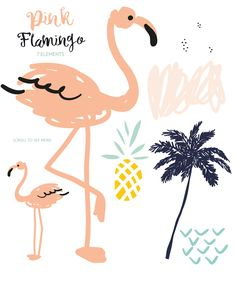Pink flamingo illustration vector set for diy invitations, flyers, and more!