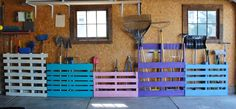 Make use of those old pallets sitting behind your barn or garage. Then sort through old paint and waa laa... creativity....