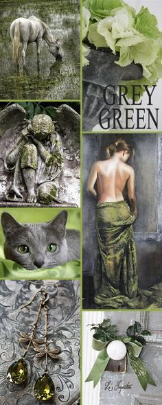 "Hi Ladies. Next Up Let's Pin This Color Board Of "" GREEN AND GREY "" Thanks For All The Great Pins Today. Happy Pinning ❤ Lu"