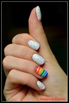rainbow dots and stripes nails