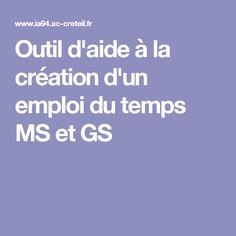 Outil d'aide à la création d'un emploi du temps MS et GS