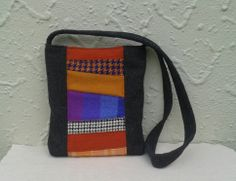 Shoulder bag upcycled from wool blankets, skirts and coats.
