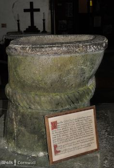 The Saxon font in Morwenstow Church, Cornwall