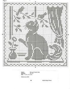 Filet Crochet Cat In the Window Pattern afghan doily Rabbit cross stitch - b & w Cat Cross Stitches, Cross Stitch Charts, Cross Stitch Designs, Cross Stitching, Cross Stitch Embroidery, Cross Stitch Patterns, Chat Crochet, Crochet Home, Filet Crochet Charts