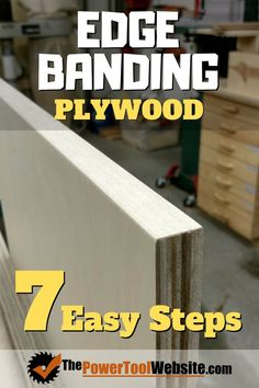 You too can easily veneer the edges of your plywood with this simple 7 step process to edge banding. Make your plywood look like solid wood! Great for shelving, cabinets, and book cases. Plywood Projects, Easy Wood Projects, Easy Woodworking Projects, Fine Woodworking, Carpentry Projects, Project Ideas, Pallet Furniture Designs, Furniture Projects, Furniture Plans