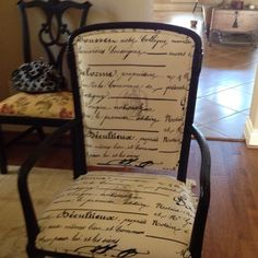 A found antique set of 6 chairs - were gold guild and purple - sent for Uphostery and paint- fabric is linen