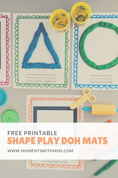 Shape Play Doh Mats free printable for learning shapes www. Activities For One Year Olds, Toddler Learning Activities, Infant Activities, Preschool Activities, Writing Activities, Play Doh, Printable Shapes, Free Printable, My Bebe