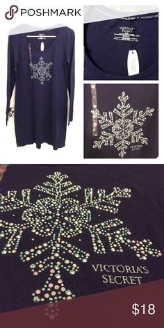 Victoria's Secret sleep tee Long sleeves. Snow shape beads. New with tag. 60% cotton 40% polyester. Extremely cute! Victoria's Secret Intimates & Sleepwear Pajamas