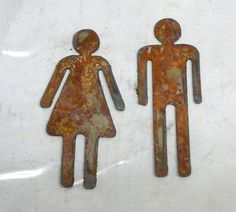 Lot Set of 2 Rusty 6 inch Man Woman Restroom Male by ThorsForge