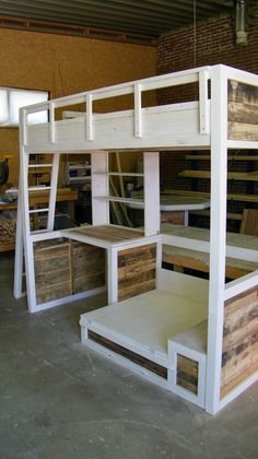 Bunkbed with desk and fold out extra bed! Just add 2 square lounge pillow on top, so will be great reading nook. Love this bed!