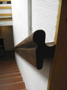 Detail:  a stair rail from Alvar Aalto's Helsinki, Finland studio, 1955.