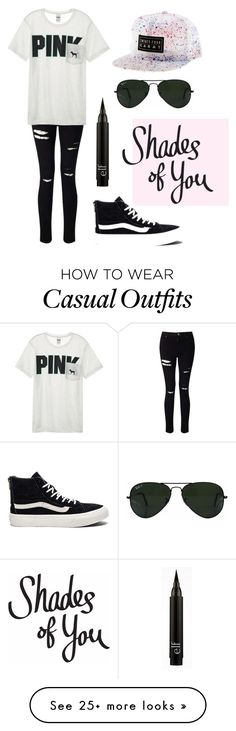 """""""Monochromatic Casual"""" by everdeen02 on Polyvore featuring Vans, Miss Selfridge, Victoria's Secret and Ray-Ban"""