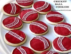 Cricket Ball Cookies - www.facebook.com/frostcupcake Cricket Birthday Cake, Cricket Theme Cake, Paint Cookies, Pokemon, Novelty Cakes, Cookie Designs, Cakes For Boys, Childrens Party, Themed Cakes