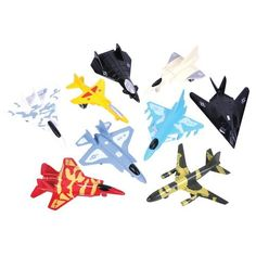 9 Piece Die Cast Air Force Jet Playset by DOMAGRON. $11.99. Includes parts made with die cast metal. In a lightweight recyclable box to help with environmental sustainability. Each set has 9 pieces. This high flying fleet of military jets makes a great gift for young aviation fans. All nine of the planes feature a rugged die-cast metal body. Each set in window box packaging. Each set has nine pieces each measuring approximately 3 inches.. Save 20%!