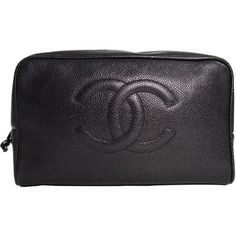 Pre-Owned Chanel Cosmetic Pouch in Black Caviar Skin ($475) ❤ liked on Polyvore featuring beauty products, beauty accessories, bags & cases, accessories, bags, black and chanel