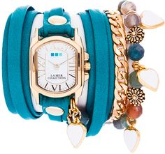 La Mer Collections Paris Heart Charm Wrap Watch in Dark Aqua