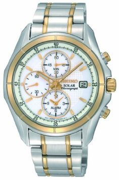 Seiko Men's SSC002 Two Tone Stainless Steel Analog with White Dial Watch Seiko. $195.00. Water-resistant to 100 M (330 feet). Stainless steel case. Quartz movement. Case diameter: 40 mm. Scratch resistant hardlex. Save 40% Off!