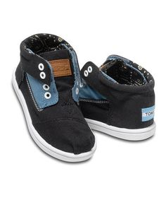 Another great find on #zulily! Blue & Black Block Canvas Botas - Tiny by TOMS #zulilyfinds
