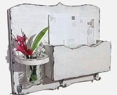 Large Mail Organizer shabby chic floral vase mail by OldWoodTrader Shabby Chic Decor Living Room, Shabby Chic Bedrooms, Shabby Chic Kitchen, Shabby Chic Homes, Mail Holder, Accent Pieces, Key Hooks, Floral Arrangements, Organization