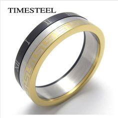 Daesar Stainless Steel Rings Tri Color Roman Numerals Men Wedding Bands Rotational