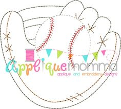 Baseball Glove Vintage Embroidery Design