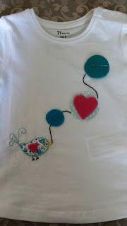 Phatufa: T-Shirt com aplicações em feltro - Passarinho