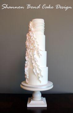 Floating Ruffle Wedding Cake / Shannon Bond Cake Design / www.sbcakedesign.com
