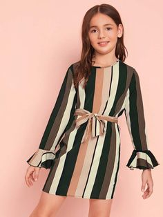 To find out about the Girls Self Belted Flounce Sleeve Striped Dress at SHEIN IN, part of our latestGirls Dresses ready to shop online today! Preteen Girls Fashion, Girls Fashion Clothes, Teenage Girl Outfits, Cute Girl Outfits, Kids Outfits, Girl Fashion, Fashion Outfits, Houndstooth Dress, Striped Dress
