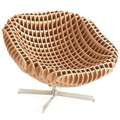 This piece recalls the intersecting lines that flow from one source of energy to another. It models the building blocks of the world around us and is perfect for incorporating textures and a natural element to a space. The bucket-style seat is made of interlocking wood, and we love it filled with plush pillows to make it the most comfortable chair in the house!     Constructed of wood and nickel  Unique grid design  Solid furniture piece    $1,199.00