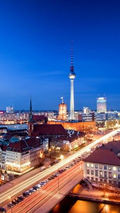 alexanderplatz, berlin, capital of germany, city, panorama, night, evening, house, building, architecture, tower, road, car, river spree