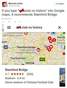 Google Maps is now the best way to ridicule football clubs - Telegraph Chelsea Football, Chelsea Fc, England Football, Stamford Bridge, Stunts, Premier League, Maps, Good Things, Google