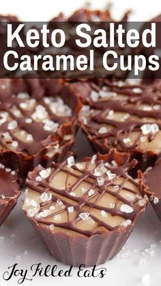 Salted Caramel Cups have a soft caramel center enrobed in dark chocolate w/the ideal sweet to salt ratio. #lowcarb #lowcarbrecipes #lowcarbdiet #keto #ketorecipes #ketodiet #thm #trimhealthymama #glutenfree #grainfree #glutenfreerecipes #recipes #desserts #dessertrecipes #ketodessert #lowcarbdessert #sugarfree #chocolate #caramel #saltedcaramel KETO Salted Caramel Cups - Low Carb, Sugar-Free, THM S