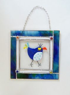 BLuE BiRd of HaPpiNeSs StAiNeD GlAsS PaNel by LanieMarieDesigns