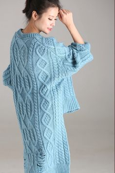 Blue Casual Long Sweater Women Warm Fall And Winter Tops Long Sweaters For Women, Cardigans For Women, Knitwear Fashion, Sweater Fashion, Winter Tops, Warm Autumn, Crochet Woman, Knit Jacket, Clothes For Women