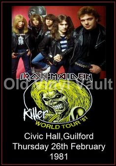 Iron Maiden Concert Poster Civic Hall,Guilford, UK 1981